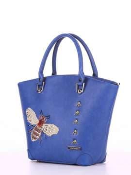 Модная сумка с вышивкой, модель 180165 синий. Изображение товара, вид сбоку.