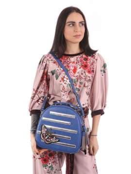 Стильная сумка с вышивкой, модель 180171 синий. Изображение товара, вид сбоку.