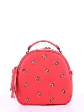 Модная сумка с вышивкой, модель 180172 красный алый. Изображение товара, вид спереди.
