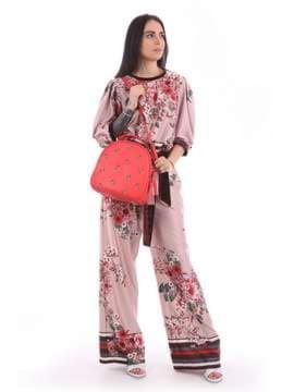 Модная сумка с вышивкой, модель 180172 красный алый. Изображение товара, вид сбоку.