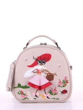 Летняя сумка с вышивкой, модель 180174 св. серый. Изображение товара, вид спереди.