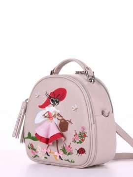 Летняя сумка с вышивкой, модель 180174 св. серый. Изображение товара, вид сбоку.