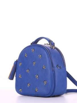 Брендовая сумка с вышивкой, модель 180175 синий. Изображение товара, вид сбоку.