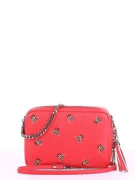 Модная сумка с вышивкой, модель 180182 красный алый. Изображение товара, вид спереди.