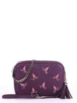 Модная сумка с вышивкой, модель 180183 баклажан. Изображение товара, вид спереди.