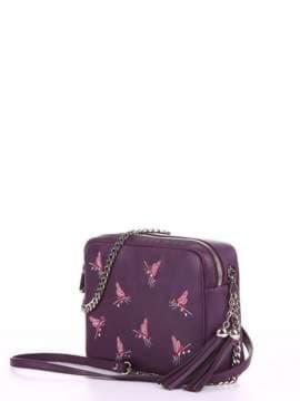 Модная сумка с вышивкой, модель 180183 баклажан. Изображение товара, вид сбоку.