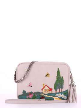 Модная сумка с вышивкой, модель 180184 св. серый. Изображение товара, вид спереди.