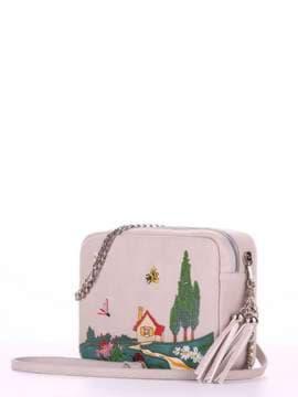 Модная сумка с вышивкой, модель 180184 св. серый. Изображение товара, вид сбоку.