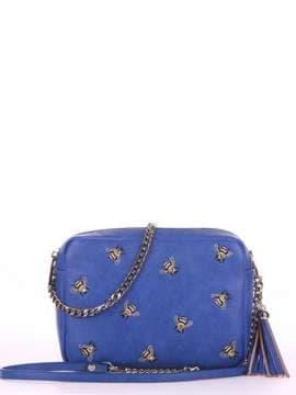Стильная сумка с вышивкой, модель 180185 синий. Изображение товара, вид спереди.
