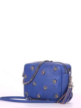 Стильная сумка с вышивкой, модель 180185 синий. Изображение товара, вид сбоку.