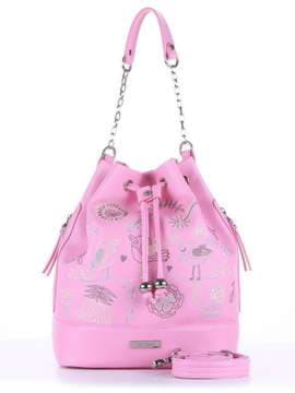 Стильная сумка с вышивкой, модель 180203 розовый. Изображение товара, вид спереди.