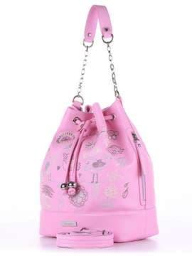 Стильная сумка с вышивкой, модель 180203 розовый. Изображение товара, вид сбоку.