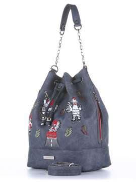 Брендовая сумка с вышивкой, модель 180204 серый. Изображение товара, вид сбоку.