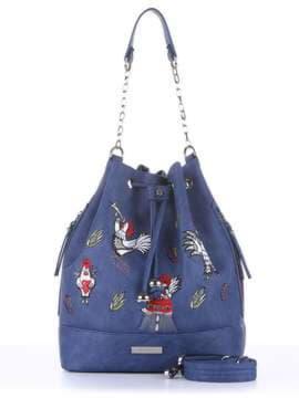 Стильная сумка с вышивкой, модель 180205 синий. Изображение товара, вид спереди.