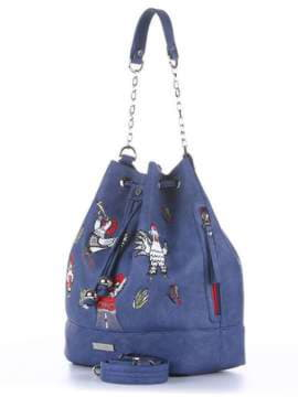 Стильная сумка с вышивкой, модель 180205 синий. Изображение товара, вид сбоку.