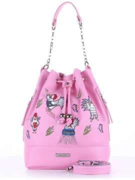 Молодежная сумка с вышивкой, модель 180206 розовый. Изображение товара, вид спереди.