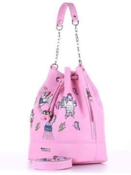 Молодежная сумка с вышивкой, модель 180206 розовый. Изображение товара, вид сбоку.