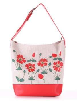 Летняя сумка с вышивкой, модель 180231 бежевый-красный. Изображение товара, вид спереди.