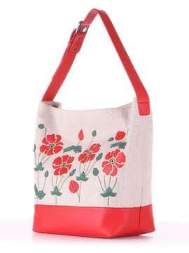 Летняя сумка с вышивкой, модель 180231 бежевый-красный. Изображение товара, вид сбоку.
