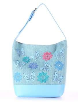 Летняя сумка с вышивкой, модель 180232 бирюзово-голубой. Изображение товара, вид спереди.