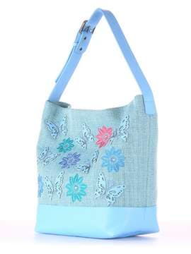 Летняя сумка с вышивкой, модель 180232 бирюзово-голубой. Изображение товара, вид сбоку.