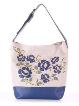 Летняя сумка с вышивкой, модель 180233 бежевый-синий. Изображение товара, вид спереди.