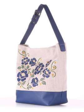 Летняя сумка с вышивкой, модель 180233 бежевый-синий. Изображение товара, вид сбоку.