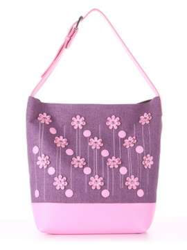 Брендовая сумка с вышивкой, модель 180234 лиловая дымка-розовый. Изображение товара, вид спереди.
