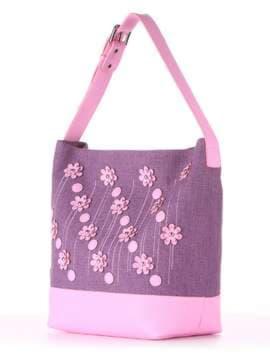 Брендовая сумка с вышивкой, модель 180234 лиловая дымка-розовый. Изображение товара, вид сбоку.