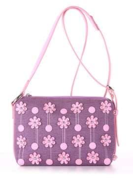 Стильная сумка с вышивкой, модель 180254 лиловая дымка-розовый. Изображение товара, вид спереди.