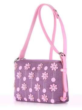 Стильная сумка с вышивкой, модель 180254 лиловая дымка-розовый. Изображение товара, вид сбоку.
