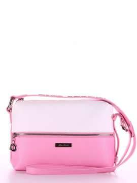 Летняя сумка через плечо, модель 180073 розовый-белый. Изображение товара, вид спереди.