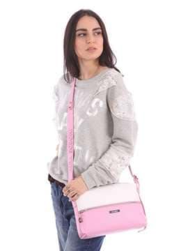 Летняя сумка через плечо, модель 180073 розовый-белый. Изображение товара, вид сбоку.