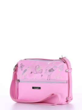 Молодежная сумка через плечо с вышивкой, модель 180223 розовый. Изображение товара, вид сбоку.