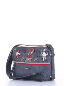 Брендовая сумка через плечо с вышивкой, модель 180224 серый. Изображение товара, вид сбоку.