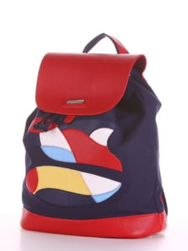 Летний рюкзак с вышивкой, модель 190061 синий. Изображение товара, вид сбоку.
