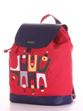 Женский рюкзак с вышивкой, модель 190062 красный. Изображение товара, вид сбоку.