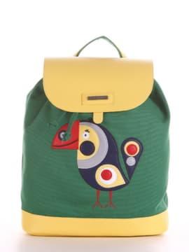 Летний рюкзак с вышивкой, модель 190063 зеленый. Изображение товара, вид спереди.