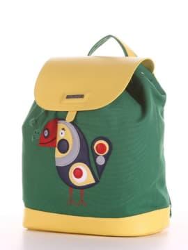 Летний рюкзак с вышивкой, модель 190063 зеленый. Изображение товара, вид сбоку.