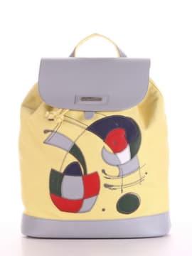 Женский рюкзак с вышивкой, модель 190064 желтый. Изображение товара, вид спереди.