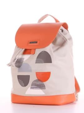 Брендовый рюкзак с вышивкой, модель 190065 светло-серый. Изображение товара, вид сбоку.