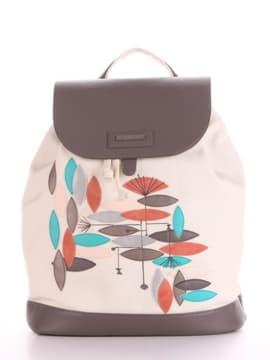 Модный рюкзак с вышивкой, модель 190066 молочный. Изображение товара, вид спереди.