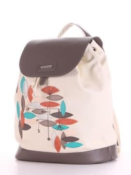 Модный рюкзак с вышивкой, модель 190066 молочный. Изображение товара, вид сбоку.
