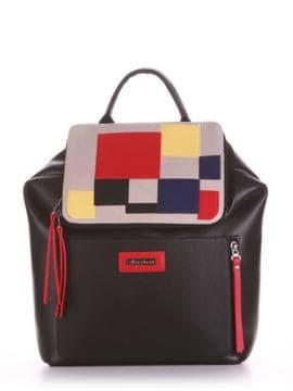 Летний рюкзак, модель 190071 черный. Изображение товара, вид спереди.