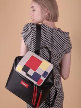 Летний рюкзак, модель 190071 черный. Изображение товара, вид сбоку.