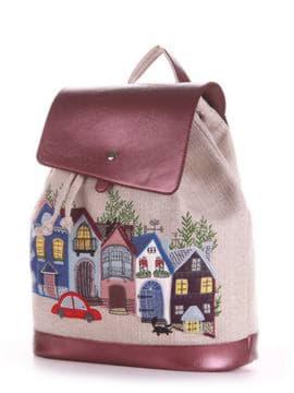 Летний рюкзак с вышивкой, модель 190201 бежевый-бордо-перламутр. Изображение товара, вид сбоку.