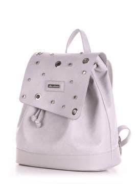 Летний рюкзак, модель 190335 светло-серый. Изображение товара, вид сбоку.