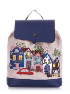 Стильный рюкзак с вышивкой, модель 190401 бежевый-синий. Изображение товара, вид спереди.