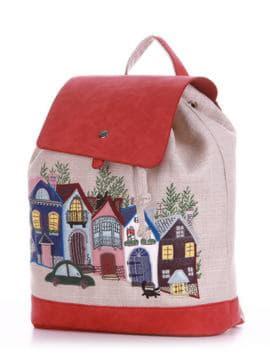 Молодежный рюкзак с вышивкой, модель 190402 бежевый-красный. Изображение товара, вид сбоку.