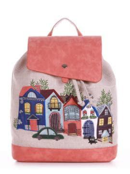 Модный рюкзак с вышивкой, модель 190403 бежевый-персиковый. Изображение товара, вид спереди.
